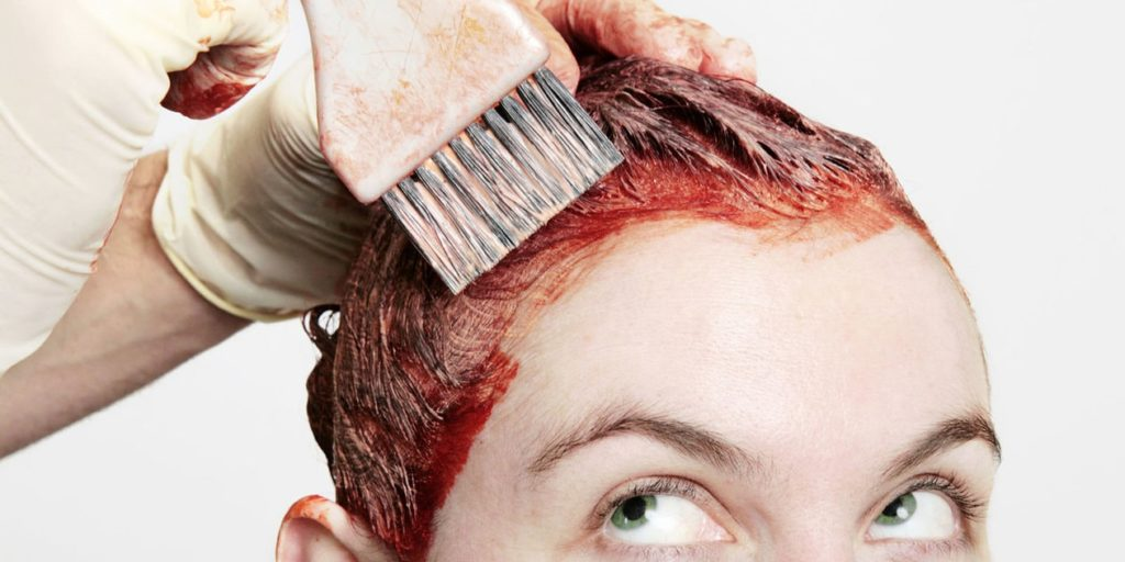 Окраска волос кисточкой в рыжий цвет