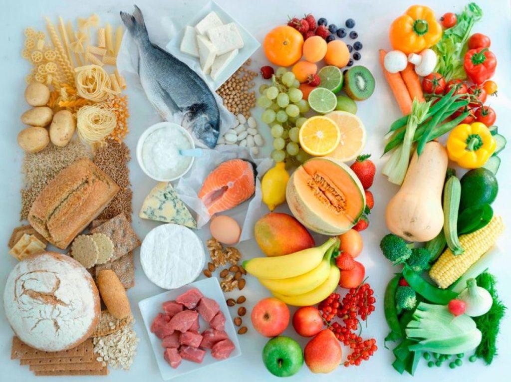 Хлеб, мясо, овощи, фрукты