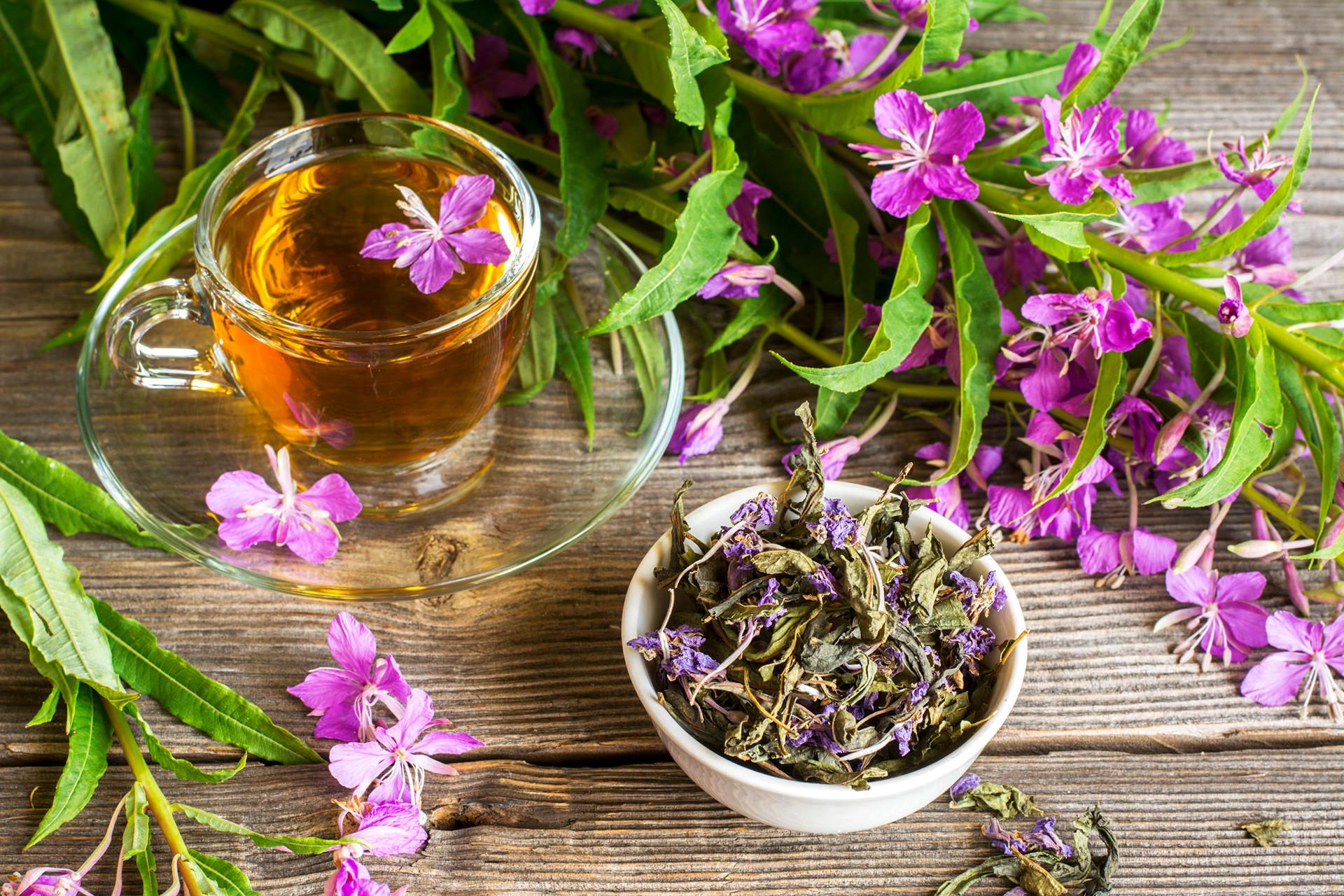 Иван-чай свежий, сухой и заваренный на деревянном столе